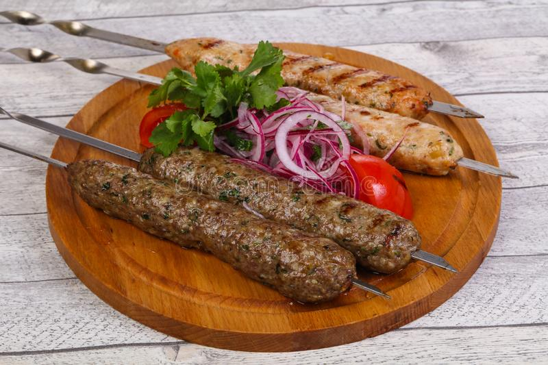 Beef and chicken kebab royalty free stock photo