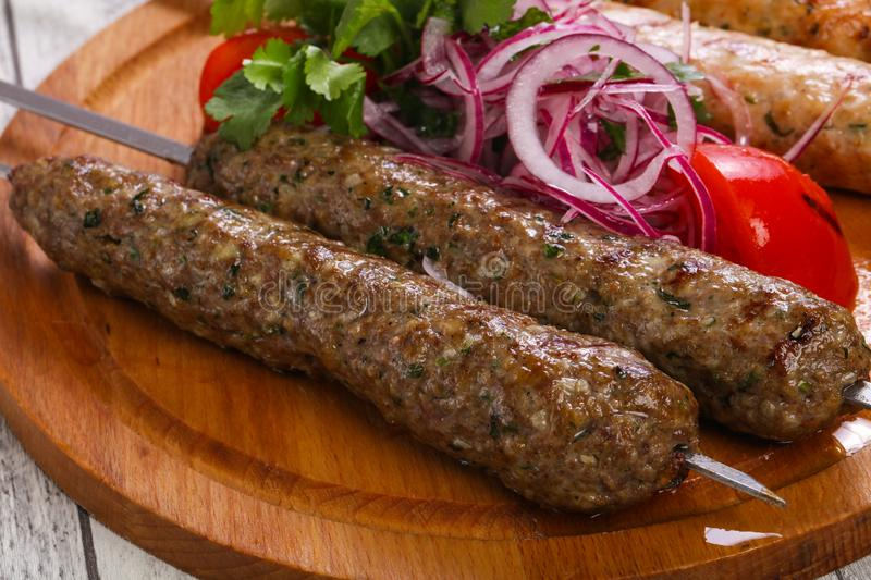 Beef and chicken kebab royalty free stock image