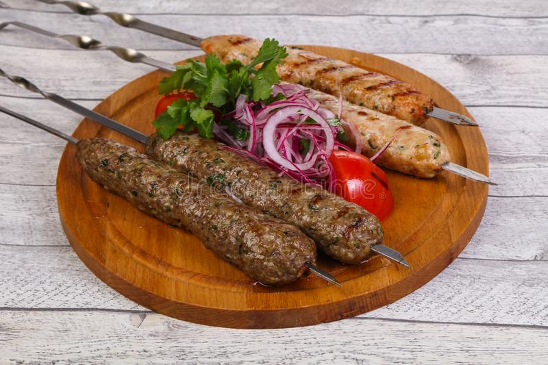 Beef and chicken kebab stock photos