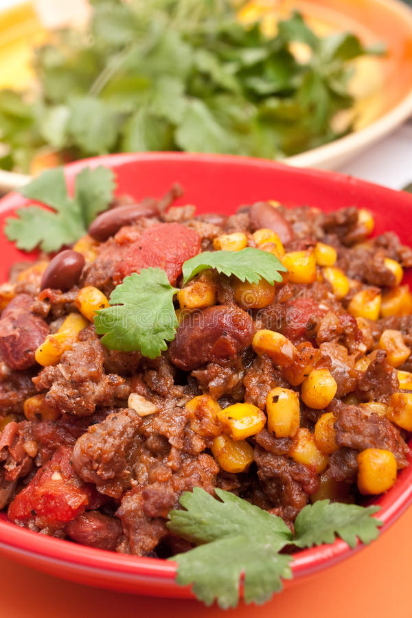 Beef Chili In A Red Bowl Stock Image
