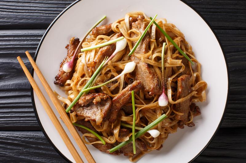 Beef Chow Fun - Beef stir-fried with rice noodle, bean sprouts, spring onions and Chinese chives is a famous Cantonese dish. Closeup on the plate on the wooden royalty free stock photo