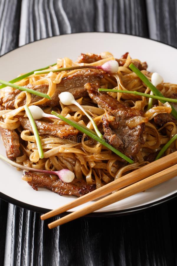 Beef Chow Fun - Beef stir-fried with rice noodle, bean sprouts, spring onions and Chinese chives is a famous Cantonese dish. Closeup on the plate on the wooden royalty free stock photography