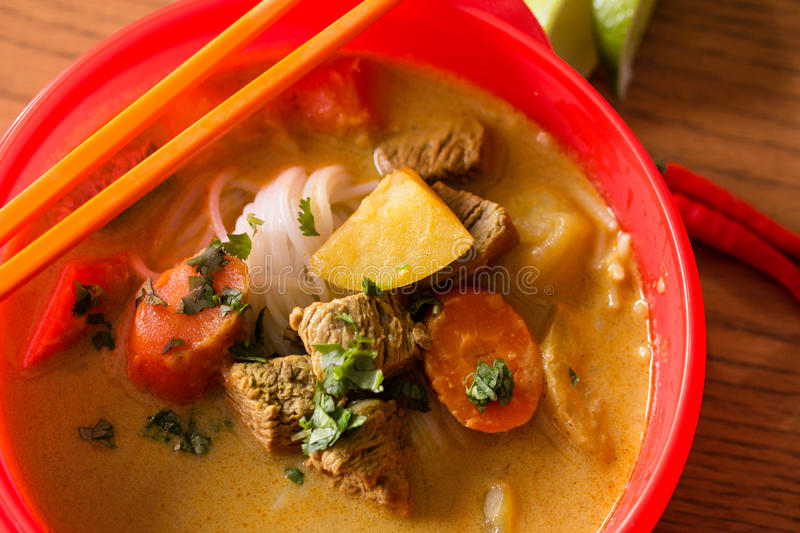 Beef curry stew with vermicelli rice noodles royalty free stock photography