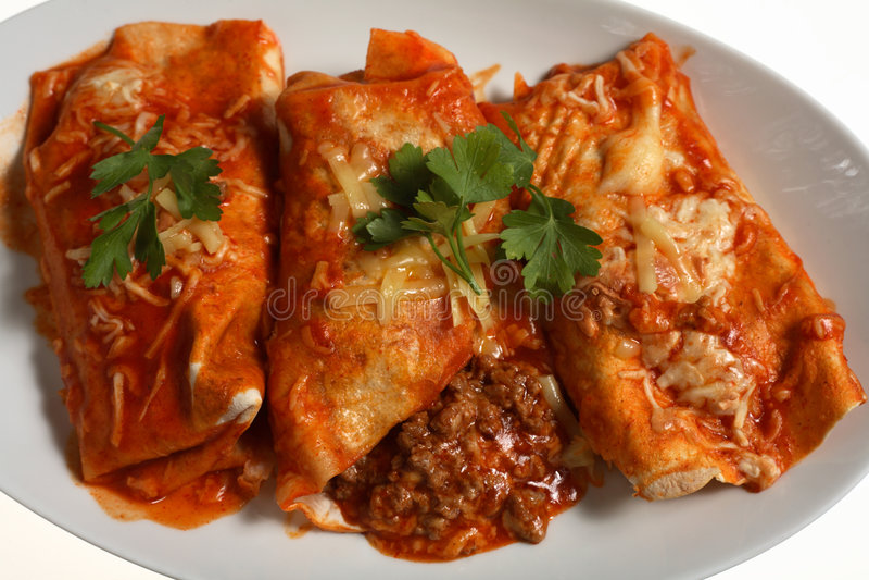 beef enchiladas spicy sauce royalty free stock photos