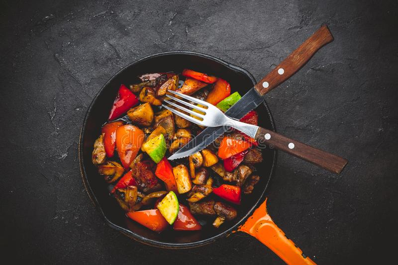 Beef Fajitas with colorfull bell peppers and mushrooms stock images