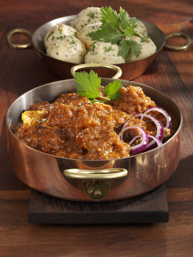 Beef goulash. With bread dumplings royalty free stock photography