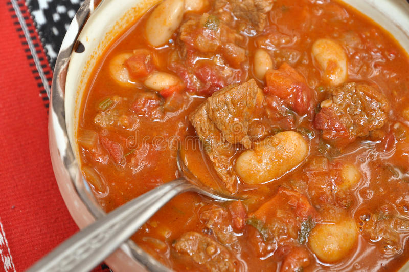 Beef Goulash with beans stock photo
