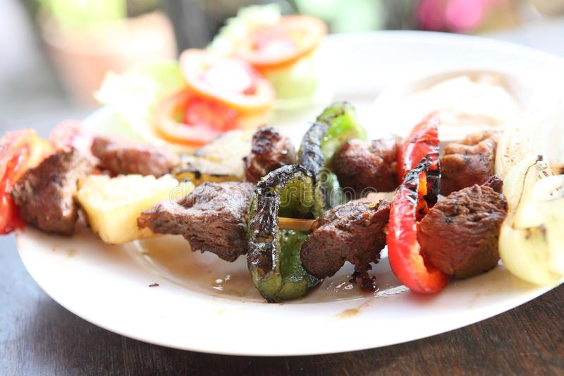 Beef kababs on the grill stock photography