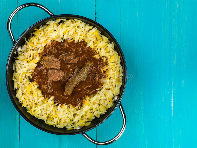 Beef Madras Curry With Aromatic Pilau Rice royalty free stock photos