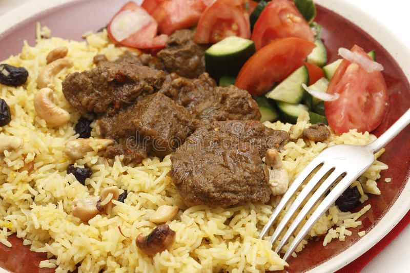 Beef madras curry meal closeup stock images