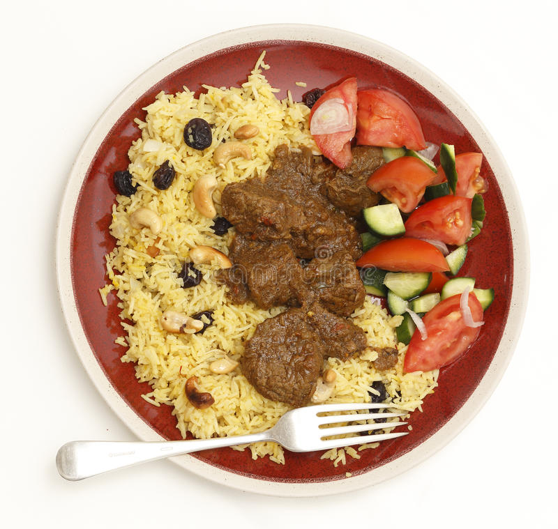 Beef madras meal from above royalty free stock photo