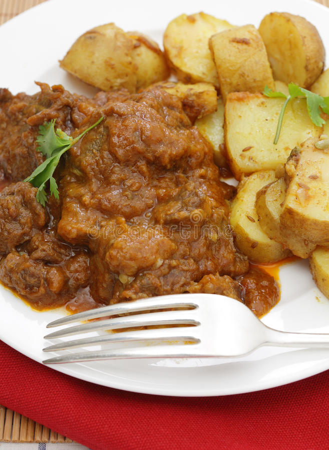 Beef madras and potato curry stock image