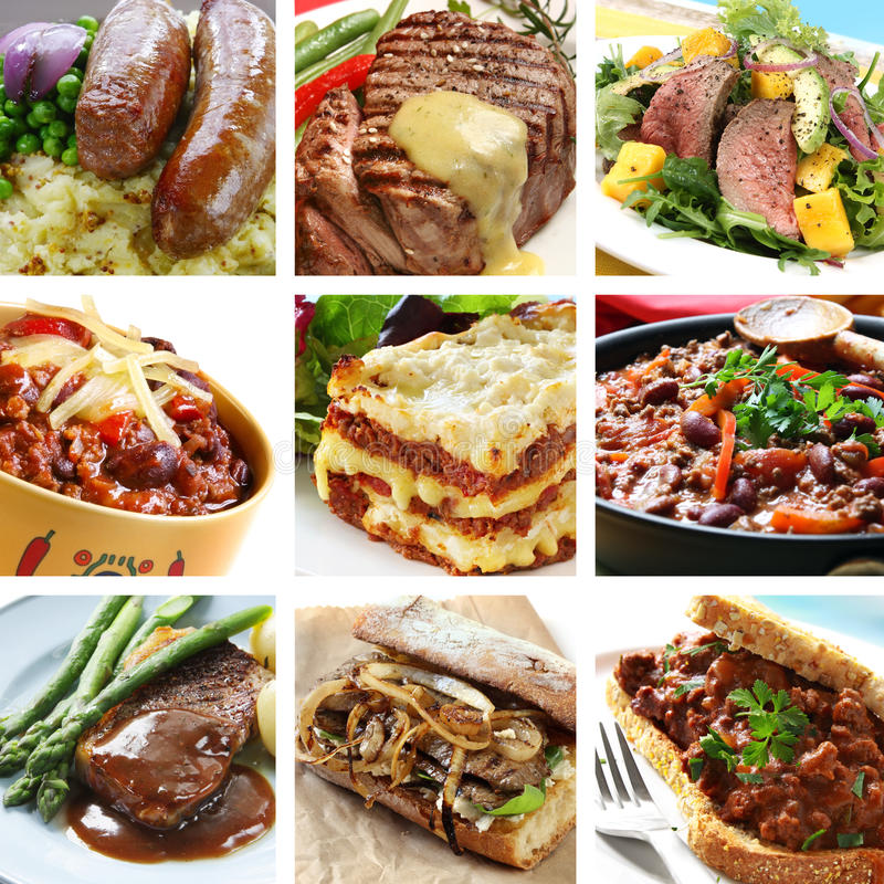 Beef Meals Collage royalty free stock image