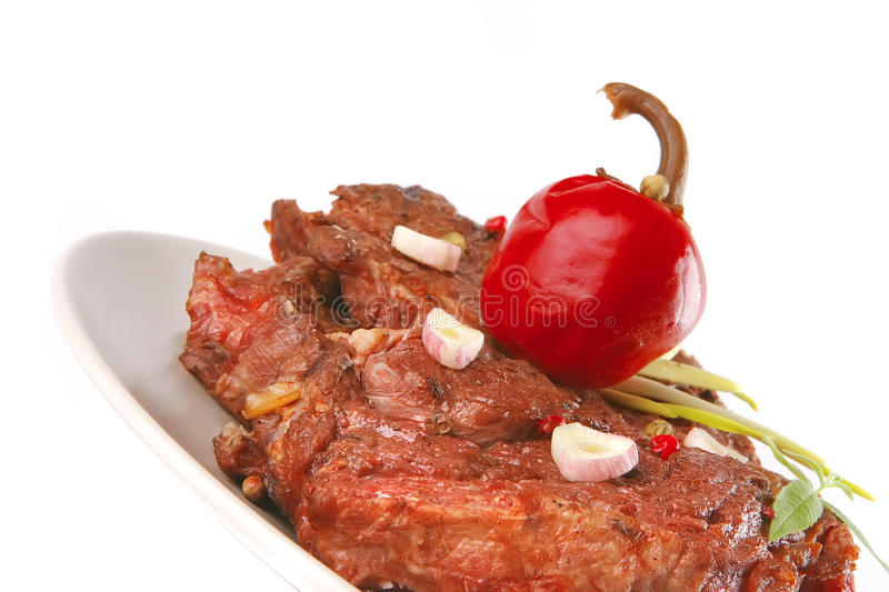 Download Beef Meat Chunk On Grey Dish Stock Photo - Image: 12033562