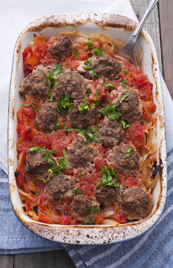 Beef meatballs in tomatoe sauce royalty free stock photo