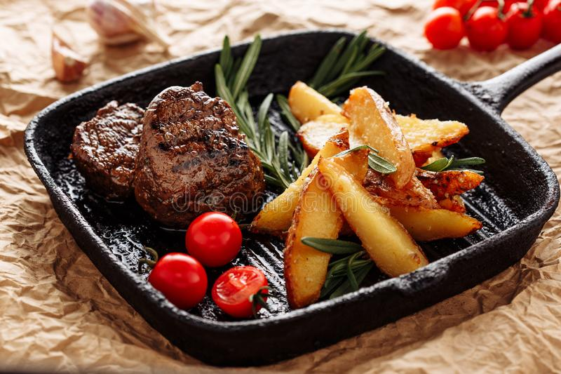 Beef Medallion Grill Roast Country Potato Closeup royalty free stock image
