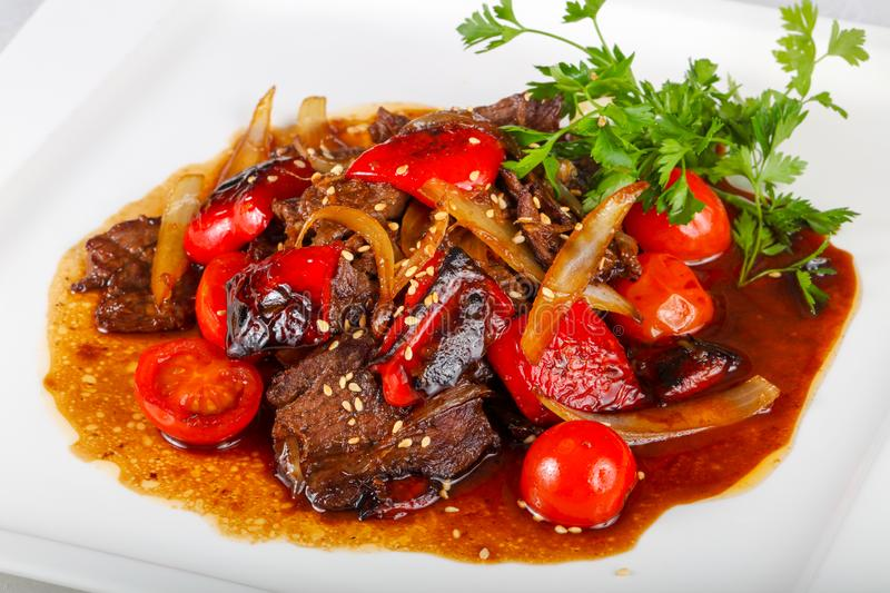 Beef in oyster sauce royalty free stock images