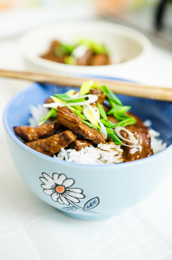 Beef in oyster sauce with jasmine rice royalty free stock photography