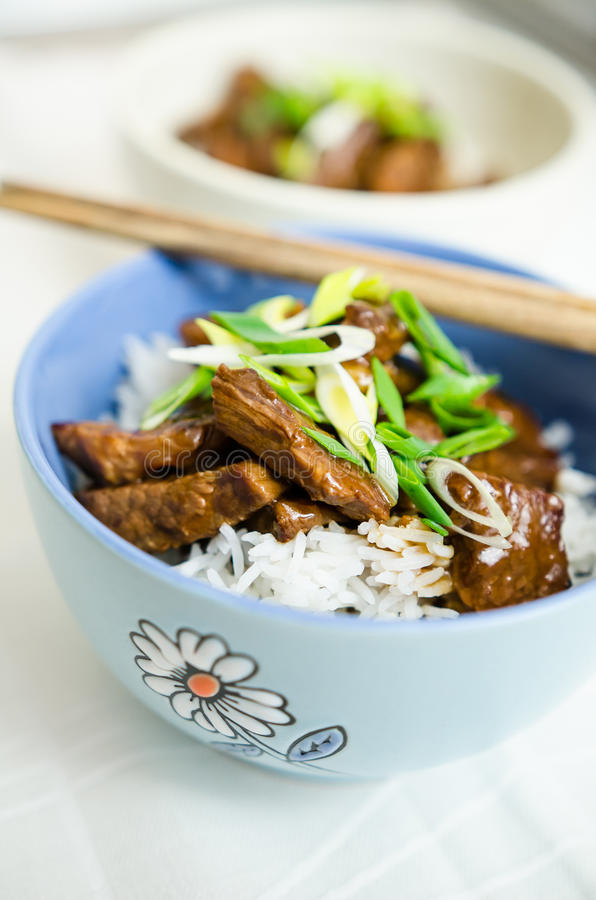 Beef in oyster sauce with jasmine rice royalty free stock image