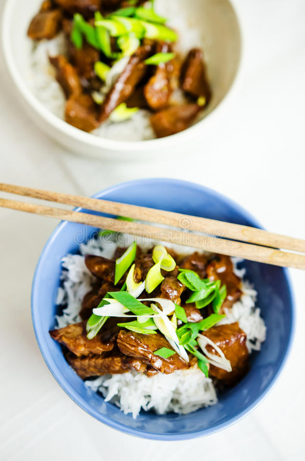 Beef in oyster sauce with jasmine rice royalty free stock photos