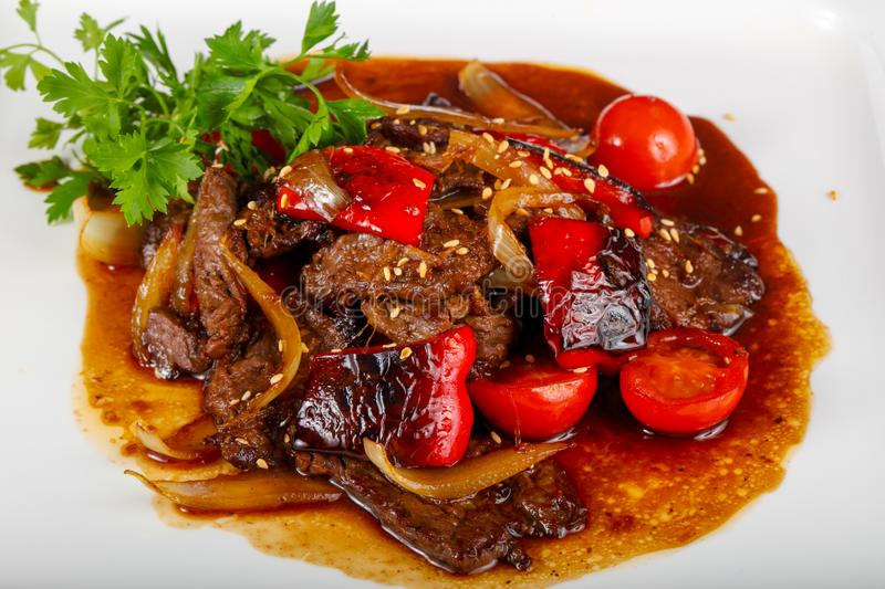 Beef in oyster sauce stock image
