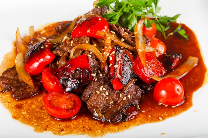 Beef in oyster sauce royalty free stock photography