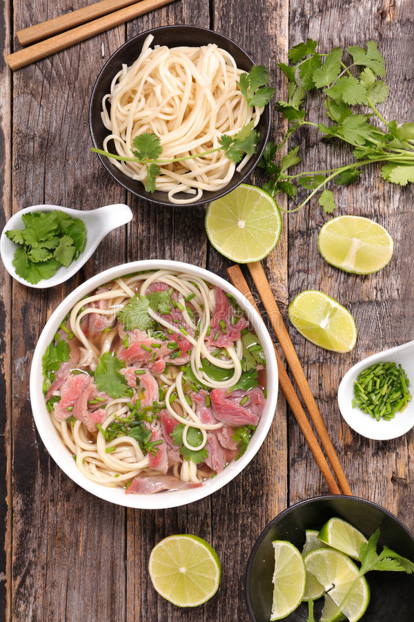 Beef pho and ingredient stock image