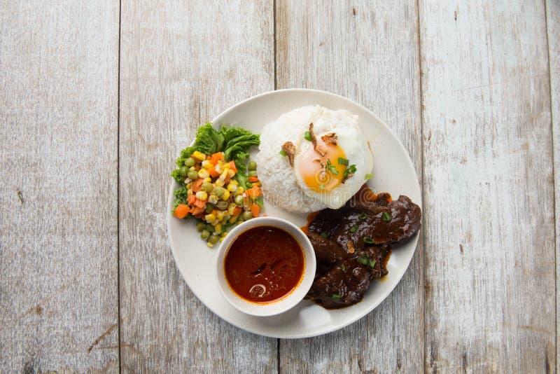 Beef rendang rice stock image