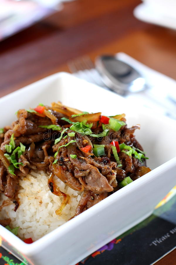 Beef Rice. A bowl of Hawaiian style beef rice stock photo