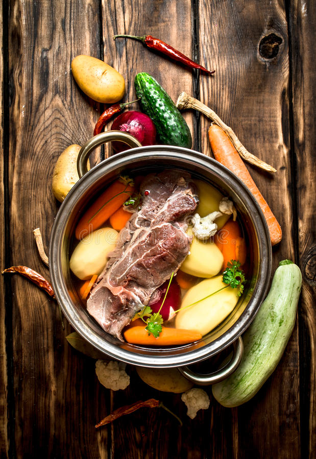 Beef soup with fresh vegetables. stock photography