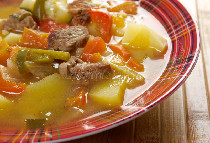 Beef soup Lecho. Lecso Hungarian which peppers and tomato royalty free stock photography