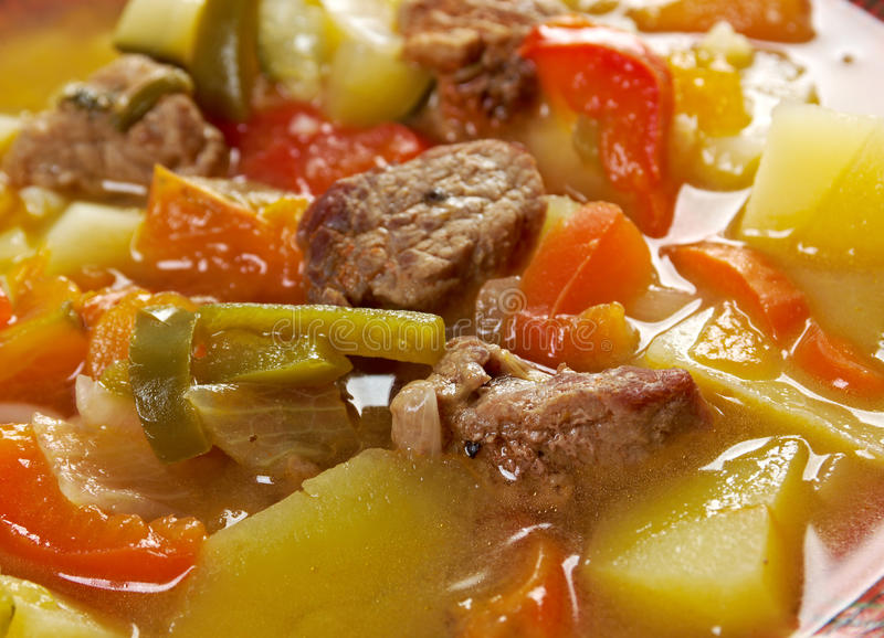 Beef soup Lecho. Lecso Hungarian which peppers and tomato royalty free stock image