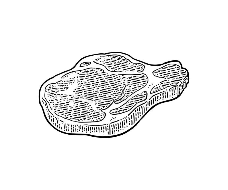 Beef steak with bone top view. Vintage black vector engraving illustration. I. Solated on white background royalty free illustration
