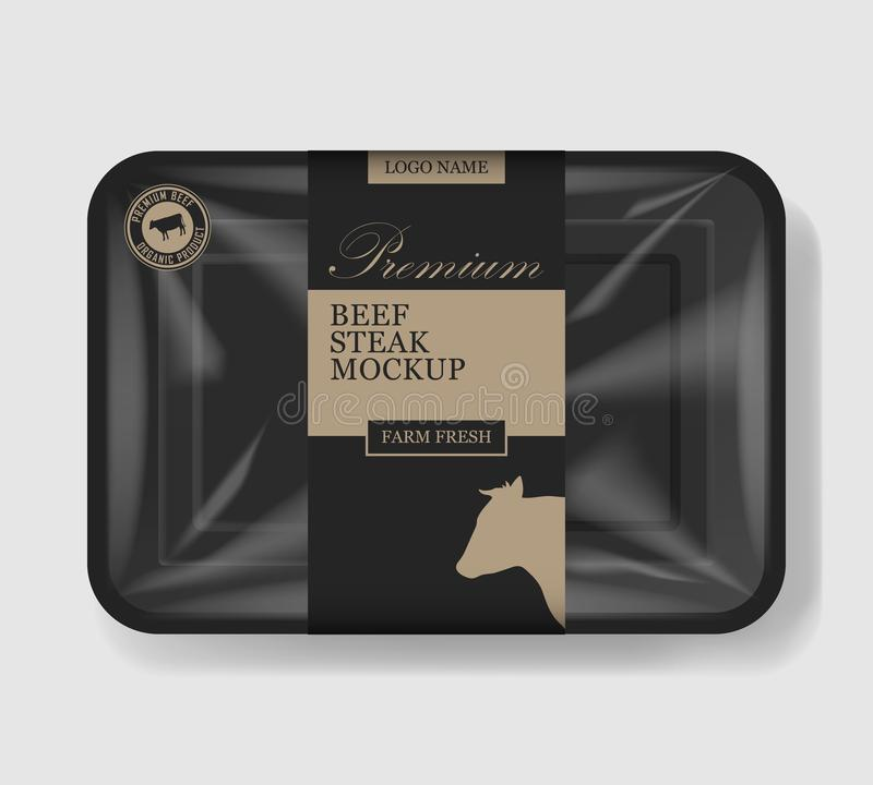 Beef steak packaging. Plastic tray container with cellophane cover. Mockup template for your meat design. Plastic food vector illustration