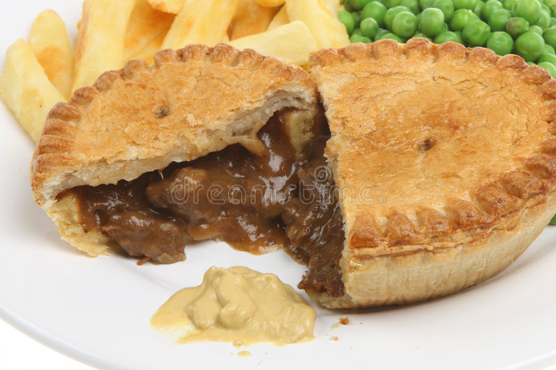 Beef Steak Pie Chips Meal stock photo. Image of fries ...