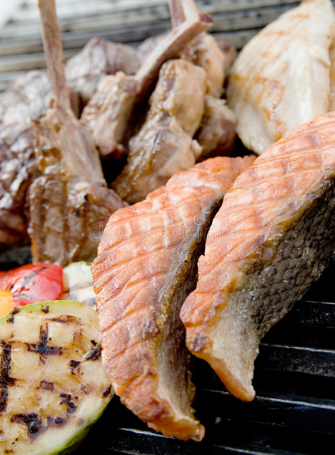 Beef steak and seafood steak royalty free stock photos