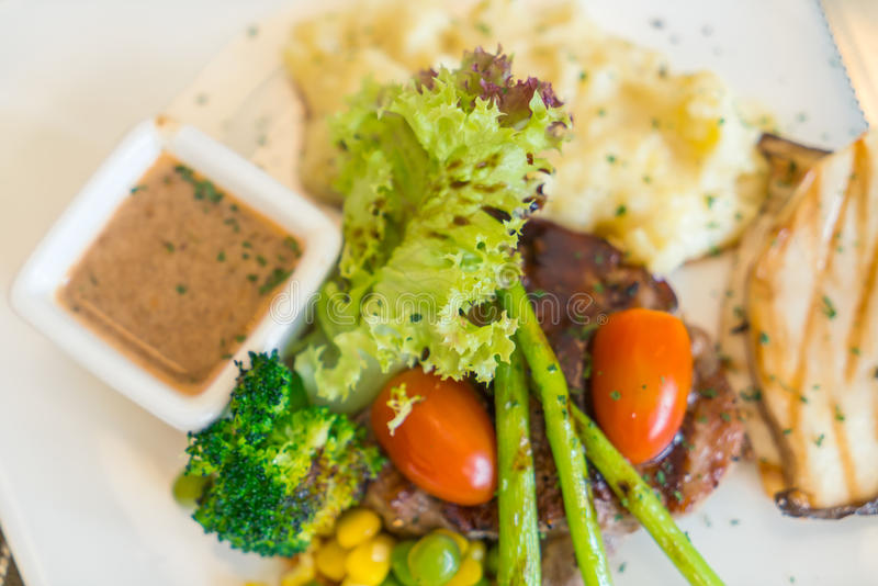 Beef steak with vegetables. royalty free stock photo