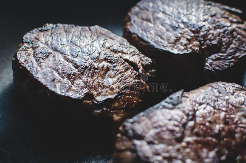 Beef steaks close up royalty free stock photography