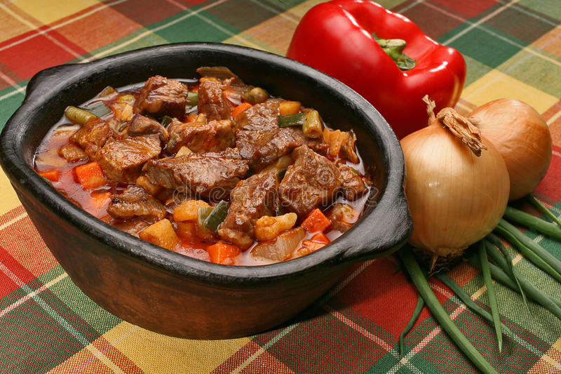 Beef stew. In a clay vessel