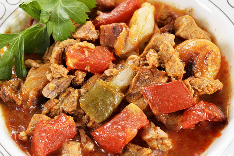Beef Stew With French Fries Salad Royalty Free Stock Photos