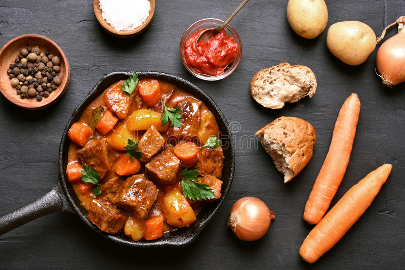 Beef stew, top view royalty free stock photo
