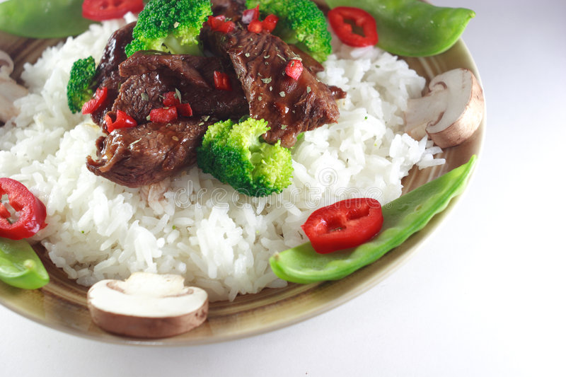 Beef stir fry. On white stock images