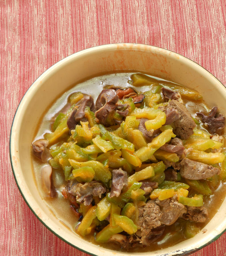 Beef stir fry. With bitter gourd stock photography