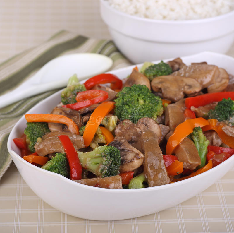 Beef Stir Fry. With broccoli; mushrooms and peppers stock image