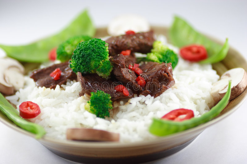 Beef stir fry close up royalty free stock images