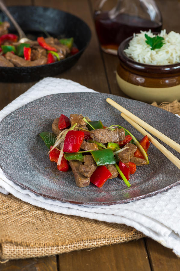 Beef stir fry stock photography