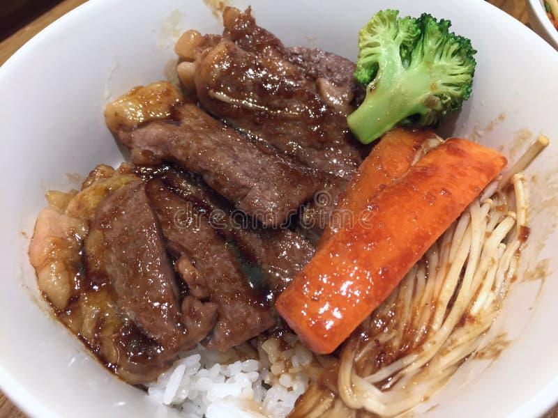 Beef stir fry rice. Twice cooked beef stir fry rice stock photo
