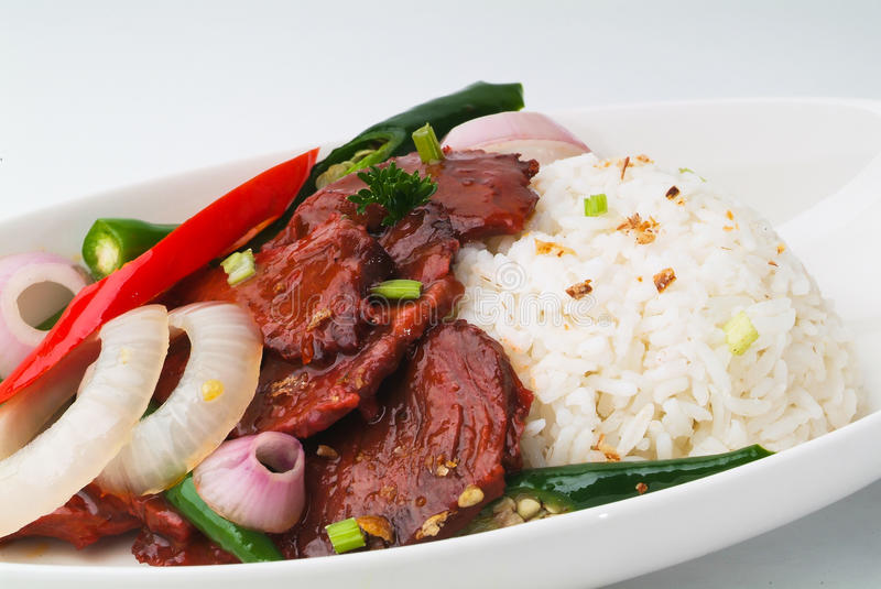 Beef stir-fry with vegetable and rice. Asia food royalty free stock photo