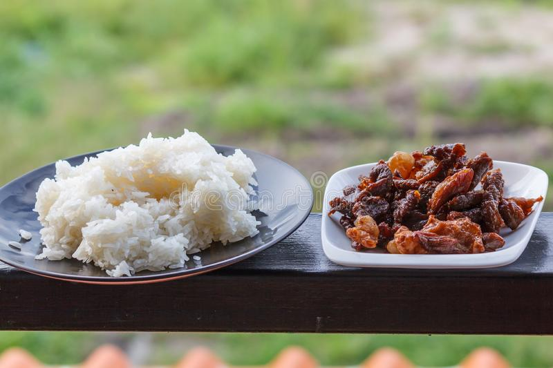 Beef stir fry white rice  delicious close up meal. Beef stir fry white rice delicious close up meal stock photos