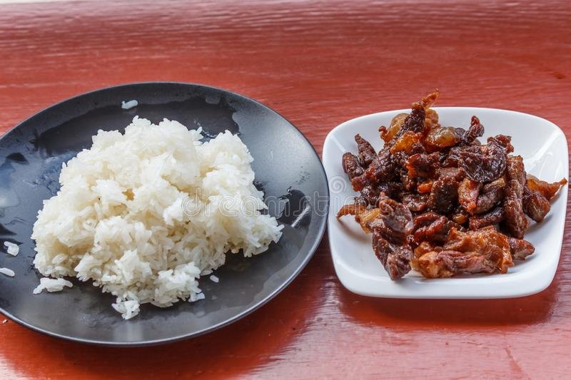 Beef stir fry white rice  delicious close up meal. Beef stir fry white rice delicious close up meal royalty free stock photography